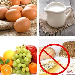 kippenei, koemelk, fructose, gluten