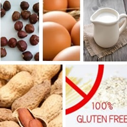 afb hazelnoot, ei, KM, pinda gluten