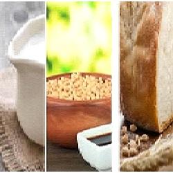 koemelk, soja, tarwe