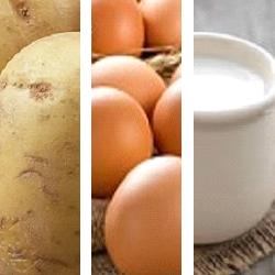 aardappel, koemelk, kippenei